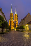 Night photo of St. John`s cathedral, Wroclaw, Poland Stock Photo