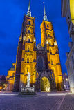 Night photo of St. John`s cathedral, Wroclaw, Poland Royalty Free Stock Images