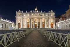 Night photo of Vatican and St. Peter`s Basilica in Rome, Italy. Amazing Night photo of Vatican and St. Peter`s Basilica in Rome, Italy Stock Images