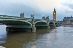 Night photo of Westminster Bridge and Big Ben, London, England Stock Images