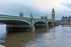 Night photo of Westminster Bridge and Big Ben, London, England Stock Images