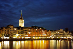 Night photo of Zurich and Limmat River Stock Photo
