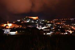 Night photography of best touristic city attraction in Bosnia and Herzegovina. City Jajce, Novemberr 2017. Royalty Free Stock Photography