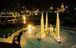 Night photography of Democracy monument Bangkok at miniature park is an open space that displays miniature buildings and models. PATTAYA CITY, CHONBURI PROVINCE stock photos