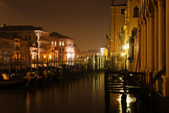 Night photography of the Grand Canal in Venice Stock Photography