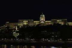 Night view of Buda Castle-Palace, Budapest, Hungary. Night photography of the illuminated Buda castle-palace, Budapest, Hungary royalty free stock image