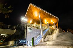 Night photography of international exhibition and convention centre, It is located at Darling Harbour, Sydney Downtown. stock images