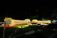 Night photography of the palais de chaillot at miniature park is an open space that displays miniature buildings and models. PATTAYA CITY, CHONBURI PROVINCE stock image