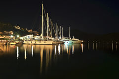 Night photography of sailboats Ithaca Greece Stock Images
