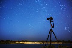 Night photography. Silhouette of camera on tripod on background of starry sky. Long exposure. Many stars in night blue sky. Dark