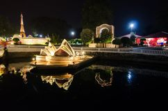 Night photography of Sydney Opera house at miniature park is an open space that displays miniature buildings and models. PATTAYA CITY, CHONBURI PROVINCE stock photo