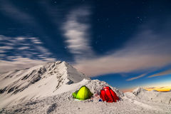 Night Photography of Tents Royalty Free Stock Photography