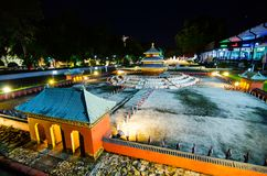 Night photography of Tiantan temple of heaven at miniature park is an open space that displays miniature buildings and models. stock photos