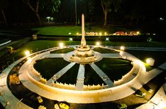 Night photography of victory monument Bangkok at miniature park is an open space that displays miniature buildings and models. PATTAYA CITY, CHONBURI PROVINCE stock image