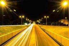 Night photography in Zagreb. Long exposure near Vukovarska street. Cars passing, like data flow Stock Photo