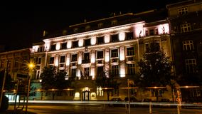 Night photography in Zagreb. Long exposure in Savska street. Looking on Chamber of Commerce Royalty Free Stock Images