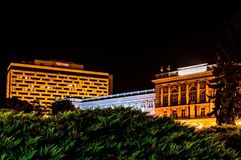 Night photography in Zagreb. Look on West In hotel and Mimara museum. Night photography, long exposure Stock Image