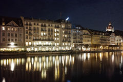 Night photos of City of Lucern and Reuss River, Canton of Lucerne Royalty Free Stock Image