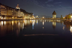 Night photos of City of Lucern and Reuss River Royalty Free Stock Photos