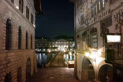 Night photos of City of Lucern and Reuss River, Switzerland Stock Image