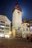 Night photos of Clock Tower in City of Lucern, Canton of Lucerne Stock Image