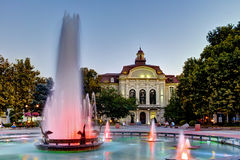 Night photos of Fountain in front of city hall in the center of Plovdiv Royalty Free Stock Photos