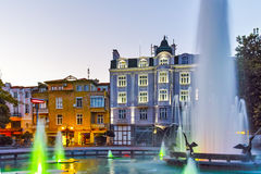 Night photos of Fountain in front of city hall in the center of Plovdiv Royalty Free Stock Images
