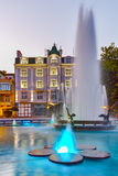 Night photos of Fountain in front of city hall in the center of Plovdiv Stock Photography