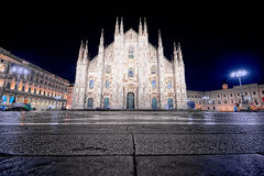 Night of Piazza Duomo in Milan super wide angle Stock Image