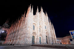 Night of Piazza Duomo in Milan super wide angle Royalty Free Stock Photography