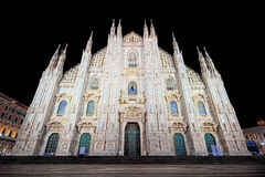 Night of Piazza Duomo in Milan wide angle Royalty Free Stock Image