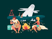 Night picnic on beach. Girl with guy near fire. Vector illustration Royalty Free Stock Photo