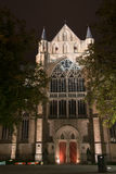 Night picture of church  in Brugge, Belgium Stock Photos