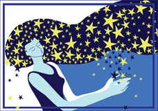 Night. Picture of a girl spreader stars Stock Photography
