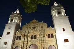 Panama Old Town casco Viejo in Panamá at night. Night picture of the main cathedral of Panamá in the old part of the city called casco Viejo with christmas royalty free stock photography