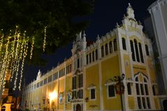 Panama Old Town casco Viejo in Panamá at night. Night picture of the main cathedral of Panamá in the old part of the city called casco Viejo with christmas stock photos