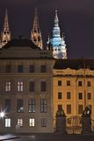 Night Picture of the main entrance to the Prague castle in Prague in Czech Republic. Gate of giants, with baroque statues Stock Photography