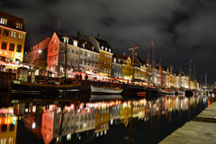 Night picture of Nyhavn - Copenhagen Denmark Stock Photography
