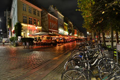 Night picture of Nyhavn - Copenhagen Denmark Stock Image