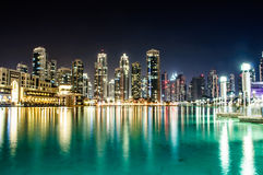 Night picture of quiet dancing fountain in dubai. Quiet dancing fountain near burj khalifa and dubai mall Royalty Free Stock Image