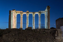 Night picture of the roman temple of Evora (Portugal). Royalty Free Stock Images