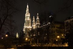 Night picture of Vienna city hall, Austria royalty free stock photo