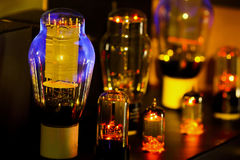Night pictures of hi fi vacuum tubes amplifier Old-fashioned ele stock image
