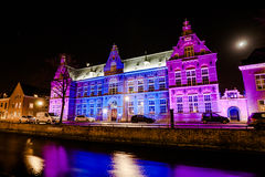 Night Pictures of the historical city Kampen, Overijssel, Nether Stock Image