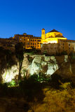 Night picturesque view of houses on rock in Cuenca Stock Images