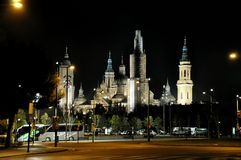The night of Pilar square in Zaragoza Stock Photography