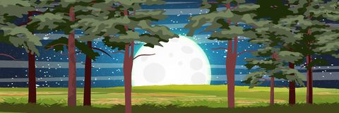 Night in a pine forest. Big moon and night sky stock illustration