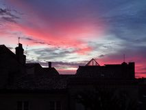 Night pink sky in france stock images
