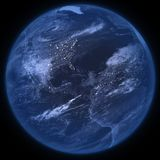 Photo realistic planet Earth in night - isolated - PNG royalty free stock images