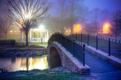 Night Pond Bridge Fog Stock Photography